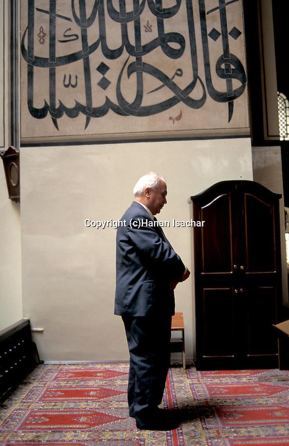 Turkey, Bursa. The Green Mosque, a prayer