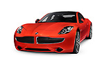 Red 2018 Karma Revero plug-in hybrid electric luxury sports sedan, successor of Fisker Karma electric car. Isolated on white studio background with clipping path. Image © MaximImages, License at https://www.maximimages.com