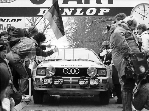 22.01.1984 Bad Homburg, Germany. Fans gather for the start of the 52nd Rally of Monte Carlo for German driver and defending champion Walter Rohrl  and his co-driver Christian Geistdoerfer in their Audi Quattro on 22 January 1984 in Bad Homburg, Germany.