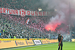 04.11.2018, Stadion im Borussia-Park, Moenchengladbach, GER, 1. FBL, Borussia Moenchengladbach vs. Fortuna Duesseldorf, DFL regulations prohibit any use of photographs as image sequences and/or quasi-video<br /> <br /> im Bild Feuer / Rauch / Bengali / Bengalis / bengalisches Feuer / zuenden Feuerwerk /  Rauchbombe in Duesseldorfer Fankurve / Fans / Fanblock / <br /> <br /> Foto &copy; nordphoto/Mauelshagen