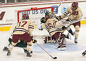 Destry Straight (BC - 17), Jacob Fallon (UVM - 17), Parker Milner (BC - 35), Patrick Wey (BC - 6) - The Boston College Eagles defeated the visiting University of Vermont Catamounts to sweep their quarterfinal matchup on Saturday, March 16, 2013, at Kelley Rink in Conte Forum in Chestnut Hill, Massachusetts.