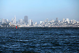 USA, California, San Francisco, the city as seen from a boat in the San Francisco Bay, Tiburon