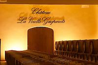 Chateau la Voulte Gasparets. In Gasparets village near Boutenac. Les Corbieres. Languedoc. Barrel cellar. France. Europe.