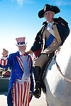 "George Washington on his horse poses with the ""pointing finger' of  Uncle Sam."