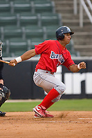 Anthony Gose #24 of the Lakewood BlueClaws follows through on his swing versus the Kannapolis Intimidators at Fieldcrest Cannon Stadium July 8, 2009 in Kannapolis, North Carolina. (Photo by Brian Westerholt / Four Seam Images)