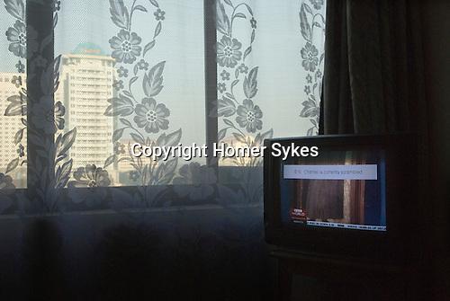 BBC World Service currently scambled  Rangoon hotel room. Myanmar Burma 2006.