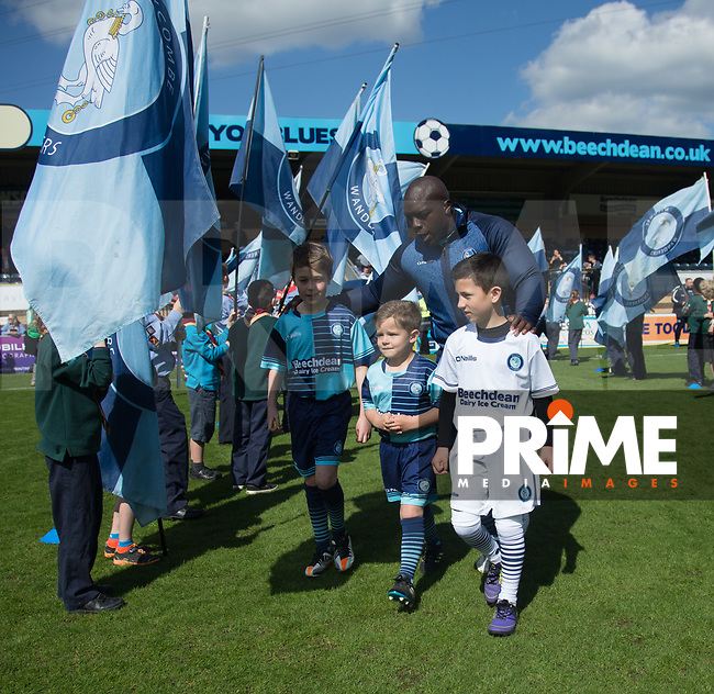 Adebayo Akinfenwa of Wycombe Wanderers enters Adams Park during the Sky Bet League 2 match between Wycombe Wanderers and Doncaster Rovers at Adams Park, High Wycombe, England on 22 April 2017. Photo by James Williamson / PRiME Media Images.