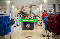 """A promotional display for """"Ghostbusters"""" merchandise is seen in Macy's Herald Square department store in New York on Friday, June 17, 2016. The new Columbia Pictures  """"Ghostbusters"""", which has an all women cast and is not a sequel to the 1984 movie, is scheduled to open on July 15. (© Richard B. Levine)"""