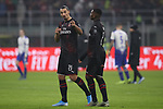 Zlatan Ibrahimovic of AC Milan speaks with Rafael Leao of after the final whistle of the Serie A match at Giuseppe Meazza, Milan. Picture date: 6th January 2020. Picture credit should read: Jonathan Moscrop/Sportimage