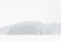 Island on Lake of Bays during snowfall. Muskoka Country. <br /> Baysville<br /> Ontario<br /> Canada