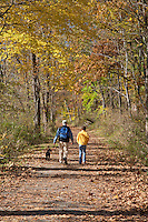 Father and Son hiking on the towpath, Delaware and Raritan Canal State Park, New Jersey