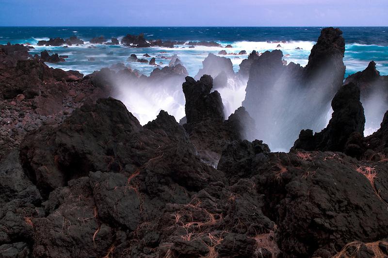 Crashing waves at Laupahoehoe Point. Hawaii, The Big Island.
