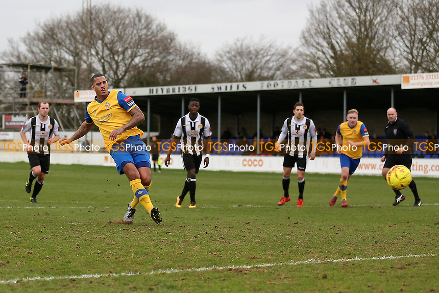 Leon McKenzie of Hornchurch scores the third goal for his team from the penalty spot and completes his hat-trick during Heybridge Swifts vs AFC Hornchurch, Ryman League Division 1 North Football at The Texo Stadium, Scraley Road on 25th February 2017