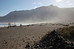 Atlantic Ocean coast beach and sea mist, Caleta de Famara, Lanzarote, Canary islands, Spain