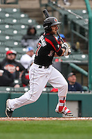 Right fielder Darin Mastroianni (27) of the Rochester Red Wings bats against the Scranton Wilkes-Barre Railriders on May 1, 2016 at Frontier Field in Rochester, New York. Red Wings won 1-0.  (Christopher Cecere/Four Seam Images)