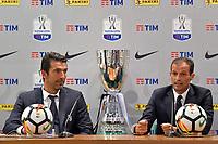 Gianluigi Buffon, Massimiliano Allegri Juventus <br /> Roma 12-08-2017 Stadio Olimpico <br /> Conferenza Stampa Supercoppa Italiana 2017/2018 <br /> Press Conference Italian Super Cup <br /> Foto Andrea Staccioli Insidefoto