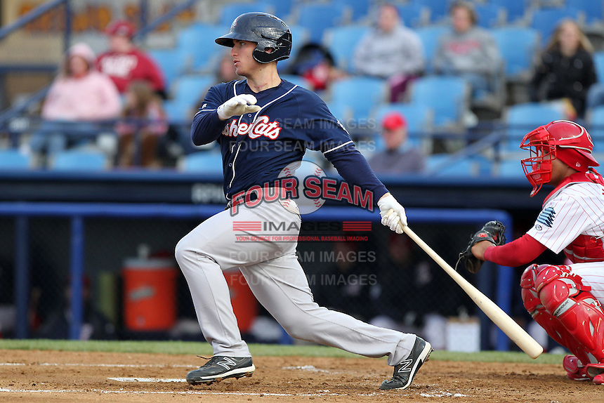 New Hampshire Fisher Cats third baseman Mark Sobolewski #14 at bat during a game against the Reading Phillies at FirstEnergy Stadium on April 10, 2012 in Reading, Pennsylvania.  New Hampshire defeated Reading 3-2.  (Mike Janes/Four Seam Images)