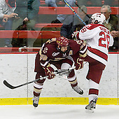 Matt Lombardi (BC - 24), Chris Huxley (Harvard - 28) - The Boston College Eagles defeated the Harvard University Crimson 3-2 on Wednesday, December 9, 2009, at Bright Hockey Center in Cambridge, Massachusetts.
