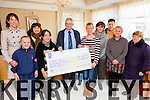 Proceeds from the Jacque Fitzgerald Memorial Walk held in Waterville on New Years Eve raised €2485 for Kerry Hospice pictured here at the cheque presentation in the Ring of Kerry Hotel on Wednesday were l-r; Trish O'Sullivan, Leah O'Dwyer, Angela Hallissey, Ursula Jouen, Ted Motnihan(Chairman Kerry Hospice), Sara O'Dwyer, Chris Fitzgerald, Mike Fitzgerald, Noreen Spillane(Palliative Care - Home Care Nurse), & Mairead Lynch(SK Branch  Kerry Hospice).