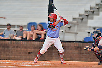 Johnson City Cardinals third baseman Yariel Gonzales (33) awaits a pitch during a game against the Danville Braves at Howard Johnson Field at Cardinal Park on July 26, 2016 in Johnson City, Tennessee. The Braves defeated the Cardinals 10-8. (Tony Farlow/Four Seam Images)