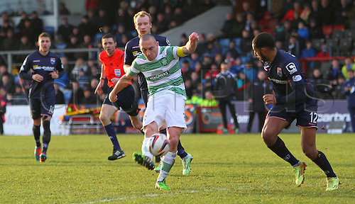 24.01.2015.  Dingwall, Scotland. Scottish Premier League. Ross County versus Celtic. Scott Brown shoots from the edge of the box