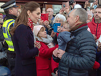 04/02/2020 -  Kate  Middleton, Duchess of Cambridge meet her old prep school teachers, Denise Evans-Alford and her husband Kevin Alford, they taught the Duchess at St Andrew's prep school in Pangbourne, Berks during a visit to Joe's Ice Cream Parlour in the Mumbles Swansea  where they met a group of local parents and carers to hear about life in the Mumbles and talk about The Duchess's landmark survey on the early years 5 Big Questions on the Under Fives. The survey was launched on the 21st January and aims to spark a UK-wide conversation on raising the next generation. Photo Credit: ALPR/AdMedia
