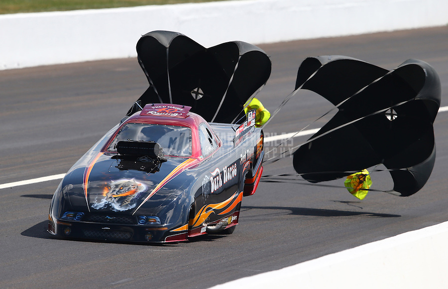Aug. 30, 2013; Clermont, IN, USA: NHRA top alcohol funny car driver Fred Hagen during qualifying for the US Nationals at Lucas Oil Raceway. Mandatory Credit: Mark J. Rebilas-