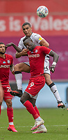 Swansea City's Ben Cabango (top) battles with Bristol City's Famara Diedhiou (bottom)<br /> <br /> Photographer David Horton/CameraSport<br /> <br /> The EFL Sky Bet Championship - Swansea City v Bristol City- Saturday 18th July 2020 - Liberty Stadium - Swansea<br /> <br /> World Copyright © 2019 CameraSport. All rights reserved. 43 Linden Ave. Countesthorpe. Leicester. England. LE8 5PG - Tel: +44 (0) 116 277 4147 - admin@camerasport.com - www.camerasport.com