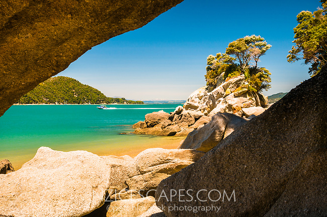 Rock formations at Watering Cove on Abel Tasman Coastal Track, Abel Tasman NP, Nelson Region, New Zealand