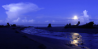 stream entering ocean past driftwood with moon setting behind, Costa Rica, Pacific