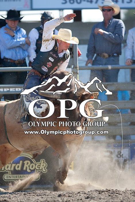 28 Aug 2011:  Steve Woosley was not able to in the second round of the Seminole Hard Rock Extreme Bulls competition  held at the Kitsap County Fair and Stampede Rodeo in Bremerton, Washington.