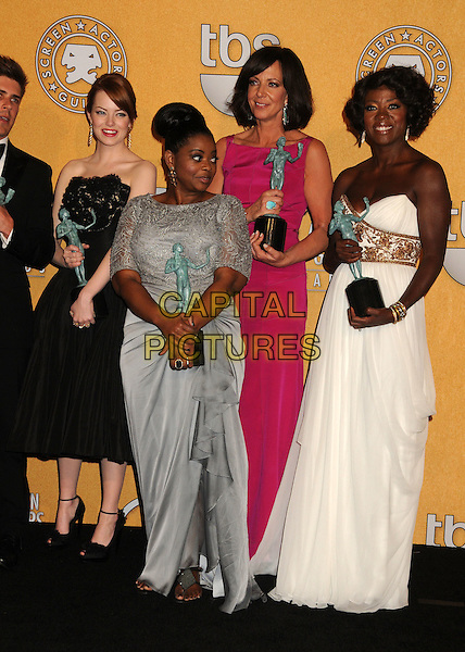 Emma Stone, Octavia Spencer, Allison Janney, Viola Davis.The 18th Annual Screen Actors Guild Awards held at The Shrine Auditorium in Los Angeles, California, USA..January 29th, 2012.SAG SAGS full length dress award trophy winner trophies winners grey gray white pink black.CAP/ADM/BP.©Byron Purvis/AdMedia/Capital Pictures.