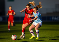 1st December 2019; Academy Stadium, Manchester, Lancashire, England; The FA's Women's Super League, Manchester City Women versus Liverpool Women; Melissa Lawley of Liverpool FC Women and Keira Walsh of Manchester City Women challenge for the ball - Editorial Use