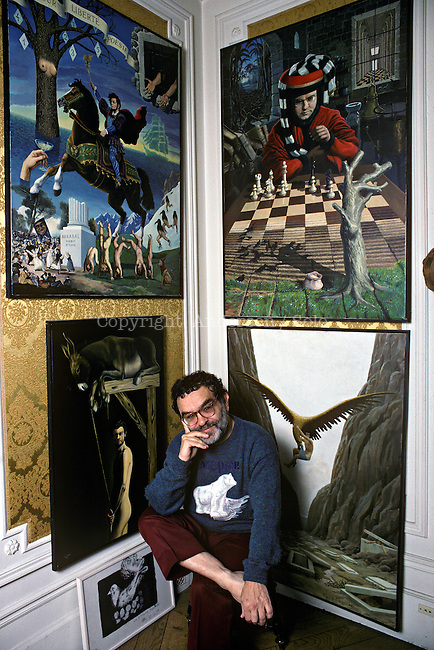 Fernando Arrabal at home in Paris, 1996.