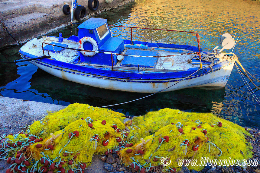 An old fishing boat in Limnaria of Kythera, Greece