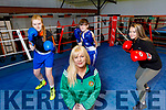 Slieve Luchra boxing club members waiting to enter the ring as soon as they reopen. <br /> Kneeling: Jennifer O'Sullivan Coffey. Back l to r: Ava Fitzmaurice, dean Martin and Katln Horan.