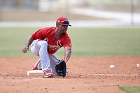 St. Louis Cardinals J.R. Davis (16) during a Minor League Spring Training game against the Houston Astros on March 27, 2018 at the Roger Dean Stadium Complex in Jupiter, Florida.  (Mike Janes/Four Seam Images)