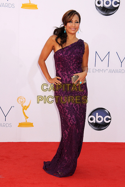 Carrie Ann Inaba.The 64th Anual Primetime Emmy Awards - Arrivals, held at Nokia Theatre L.A. Live in Los Angeles, California, USA..September 23rd, 2012.emmys full length dress clutch bag purple one shoulder lace print hand on hip.CAP/ADM/BP.©Byron Purvis/AdMedia/Capital Pictures.