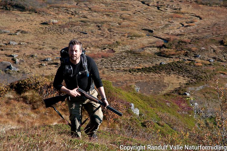 Småviltjeger i høstfarget terreng. ---- Small game hunter.