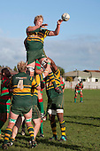 Jamie Chipman pass back from the top of a lineout. Counties Manukau Premier Club Rugby game between Waiuku and Pukekohe, played at Waiuku on Saturday May 28th 2011. Pukekohe won 28 - 14 after leading 18 - 14 at halftime.