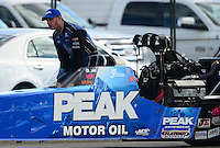 Nov. 9, 2012; Pomona, CA, USA: NHRA top fuel dragster driver T.J. Zizzo during qualifying for the Auto Club Finals at at Auto Club Raceway at Pomona. Mandatory Credit: Mark J. Rebilas-