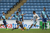Luke O'Nien of Wycombe Wanderers & Marcus Tudgay of Coventry City during the The Checkatrade Trophy - EFL Trophy Semi Final match between Coventry City and Wycombe Wanderers at the Ricoh Arena, Coventry, England on 7 February 2017. Photo by Andy Rowland.