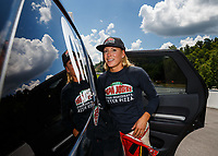 Jun 17, 2017; Bristol, TN, USA; NHRA top fuel driver Leah Pritchett during qualifying for the Thunder Valley Nationals at Bristol Dragway. Mandatory Credit: Mark J. Rebilas-USA TODAY Sports