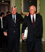 United States Senators Daniel Patrick Moynihan (Democrat of New York), left,  and Patrick J. Leahy (Democrat of Vermont), right, walk to the U.S. Senate Chamber in the U.S. Capitol in Washington, D.C. prior to the start of the U.S. House presentation in the Impeachment trial of U.S. President Bill Clinton on January 14, 1999..Credit: Ron Sachs / CNP