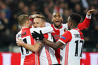 28th November 2019, Rotterdam, Netherlands; Europa League football, Feyenoord versus Glasgow Rangers;  Feyenoord player Jens Toornstra celebrates as he scores for 1-0 in the 33rd minute - Editorial Use