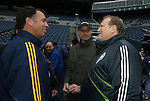 21 November 2009: Galaxy head coach Bruce Arena (left) with Seattle Sounders FC owner Drew Carey (right) and Sounders FC goalkeeper Kasey Keller (center). The Los Angeles Galaxy held a training session at Qwest Field in Seattle, Washington in preparation for playing Real Salt Lake in Major League Soccer's championship game, MLS Cup 2009, the following day.