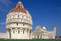 The 12th Cent. PIAZZA DEL DUOMO contains the BAPTISTERY (front), CATHEDRAL & LEANING TOWER OF PISA - TUSCANY, ITALY