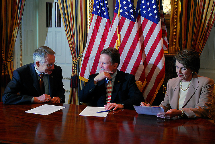 Sens. Harry Reid (D-Nev.), left, and Jim Webb (D-Va.) sit with Speaker of the House Nancy Pelosi in a photo op on Tuesday, Jan. 23, 2007, just hours before Pres. Bush delivers his State of the Union speech. (Barbara L. Salisbury for Roll Call)