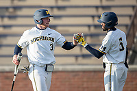 Michigan Wolverines outfielder Miles Lewis (3) is greeted by teammate Christian Bullock (5) against the Western Michigan Broncos on March 18, 2019 in the NCAA baseball game at Ray Fisher Stadium in Ann Arbor, Michigan. Michigan defeated Western Michigan 12-5. (Andrew Woolley/Four Seam Images)