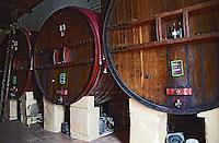 Domaine du Grand Chemin, Vin de Pays d'Oc. in Savignargues. Languedoc. Wooden fermentation and storage tanks. France. Europe.